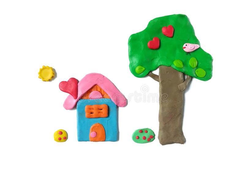 Home sweet home, colorful plasticine clay, beautiful view dough stock photos