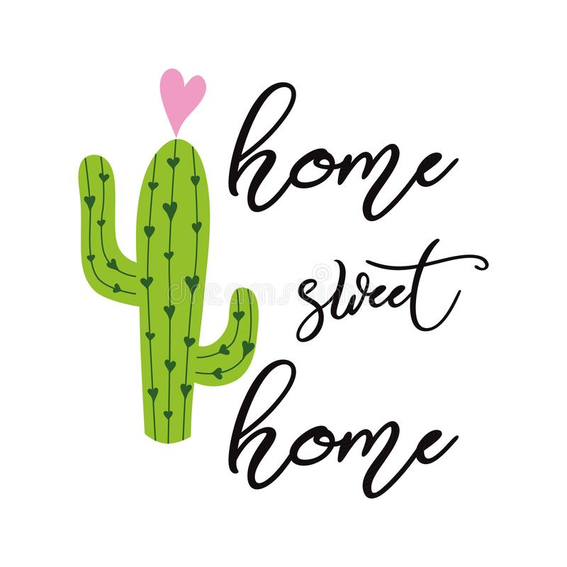 Home sweet home vector sign Cute hand drawn Prickly cactus print with inspirational quote Home decor vector illustration