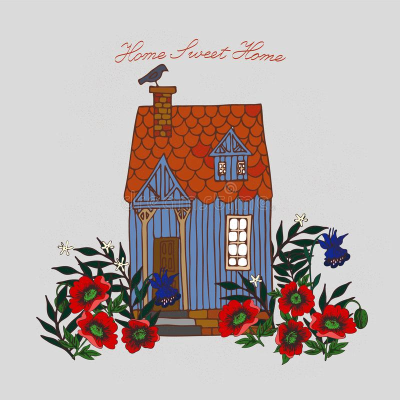 Home Sweet Home. card with cottage surrounded by flowers vector image royalty free illustration