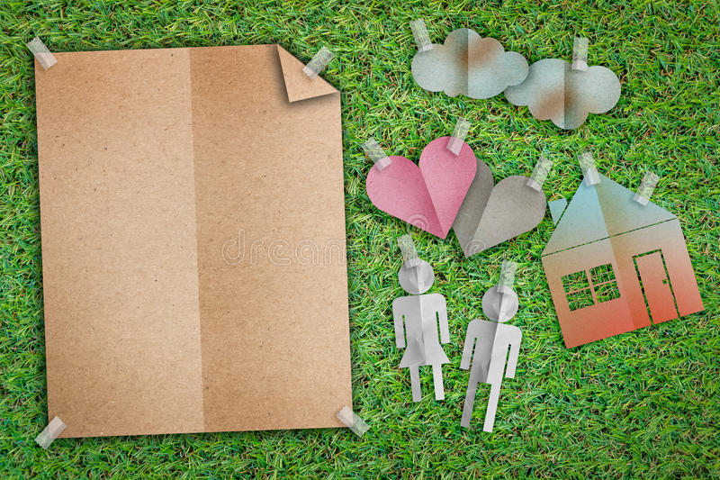 Home sweet home concept with family icon paper cut flat style an royalty free stock photos