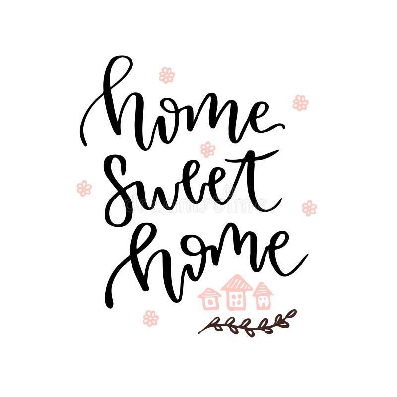 home sweet Wektorowa ręka rysująca literowanie karta Wektorowa blog ikona ilustracja wektor