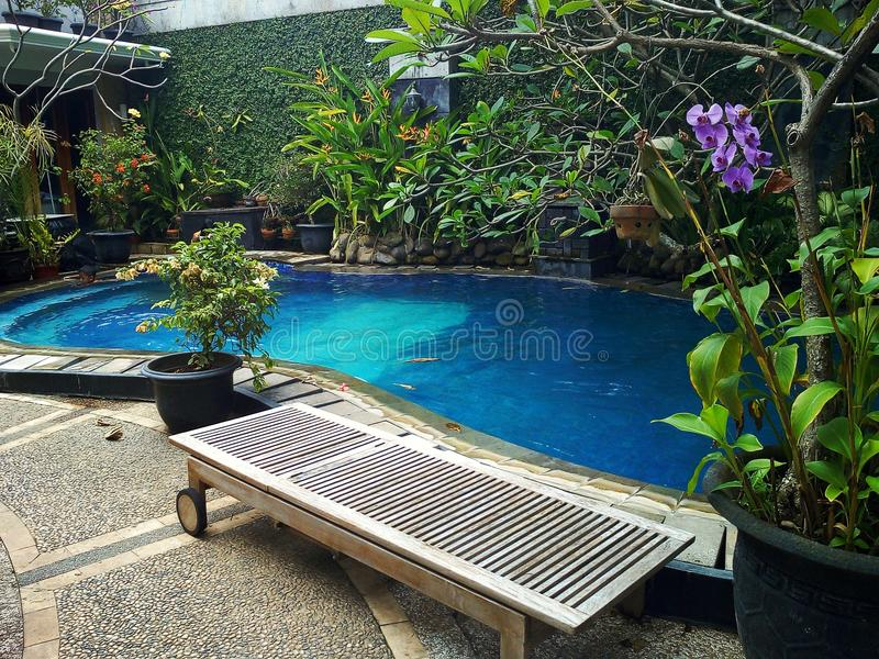 Swimming pool. Awesome private swimming pool at home stock photo