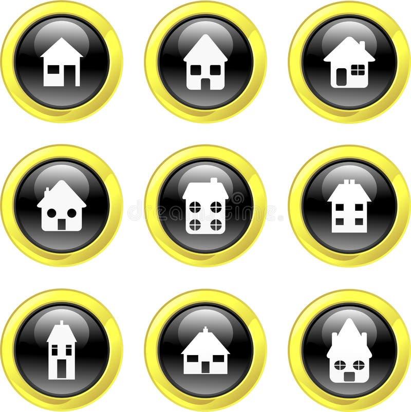 home symboler royaltyfri illustrationer