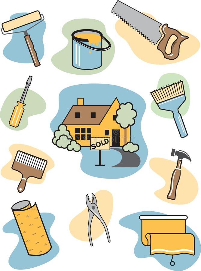 home symbolsförbättring royaltyfri illustrationer