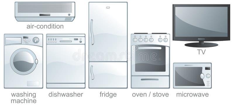 home symbolsset för utrustning royaltyfri illustrationer