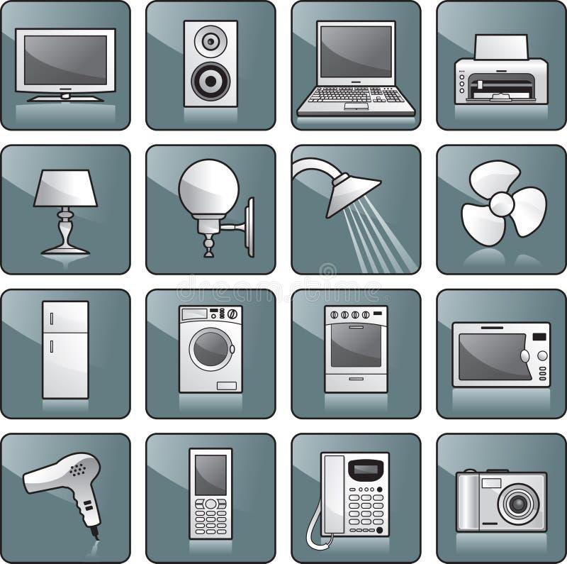 home symbolsset för utrustning stock illustrationer