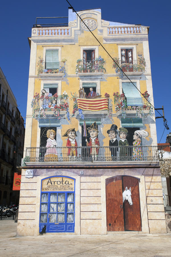 Home in Tarragona with a fake painted facade stock photo