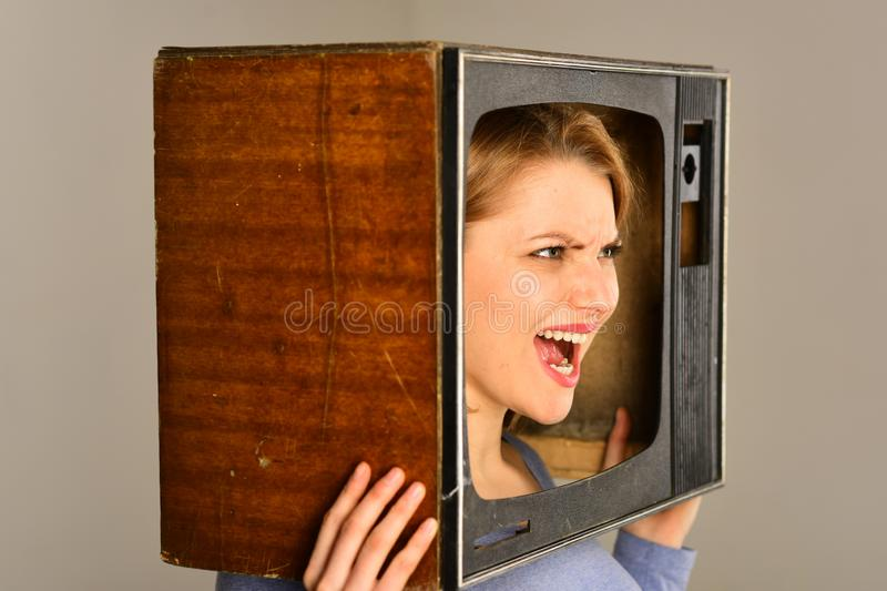 Home television. home television provider. woman watching home television. home television and new technology concept.  stock image
