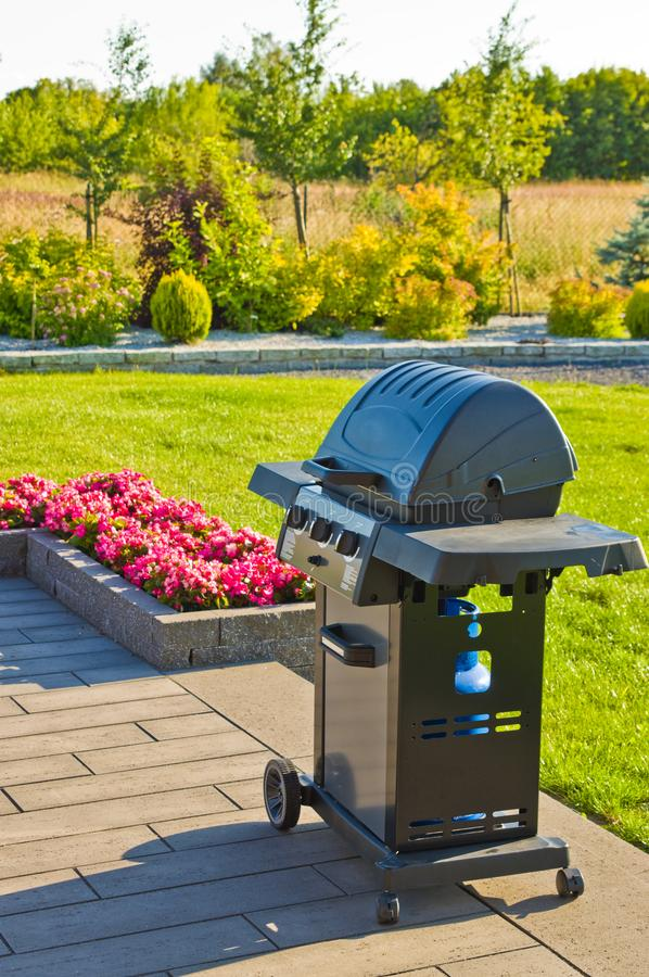 Home terrace with gas barbecue abstract royalty free stock photo