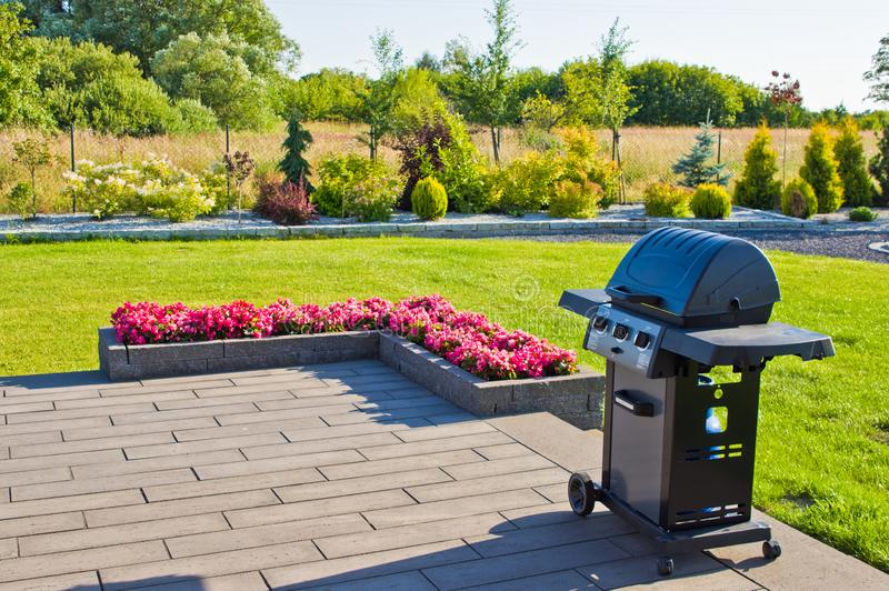 Home terrace with gas barbecue abstract royalty free stock photos
