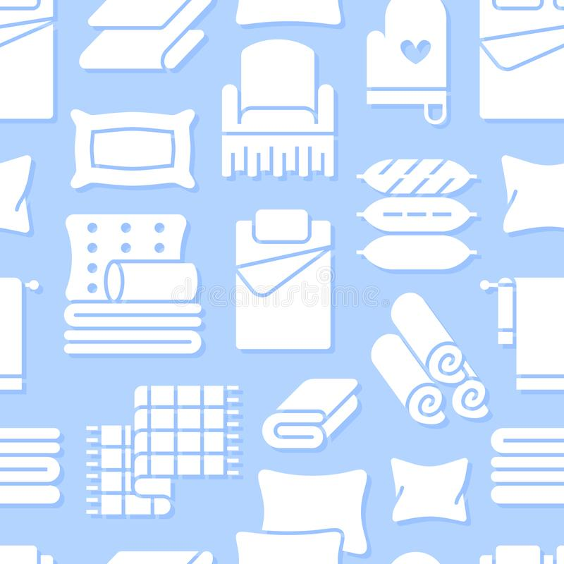 Home textiles seamless pattern with flat glyph icons. Bedding, bedroom linen, pillows, sheets set, blanket and duvet vector illustration
