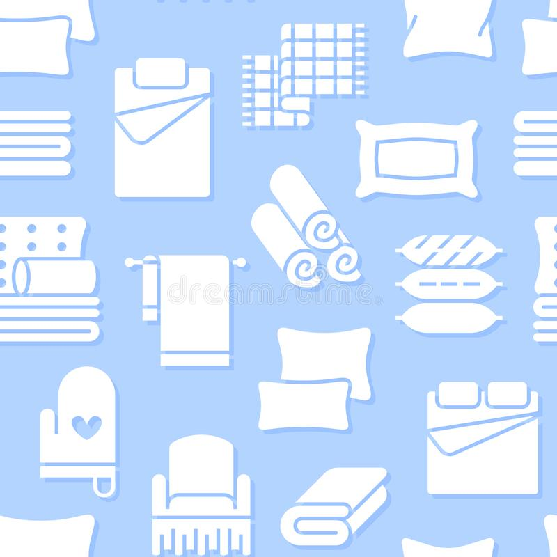 Home textiles seamless pattern with flat glyph icons. Bedding, bedroom linen, pillows, sheets set, blanket and duvet stock illustration