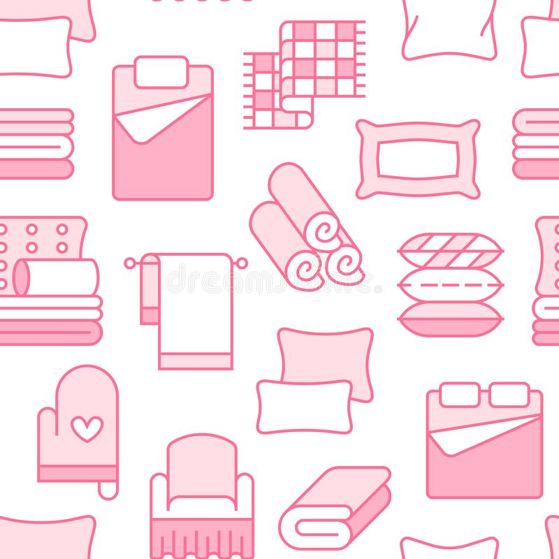 Home textiles seamless pattern with flat line icons. Bedding, bedroom linen, pillows, sheets set, blanket and duvet thin royalty free illustration
