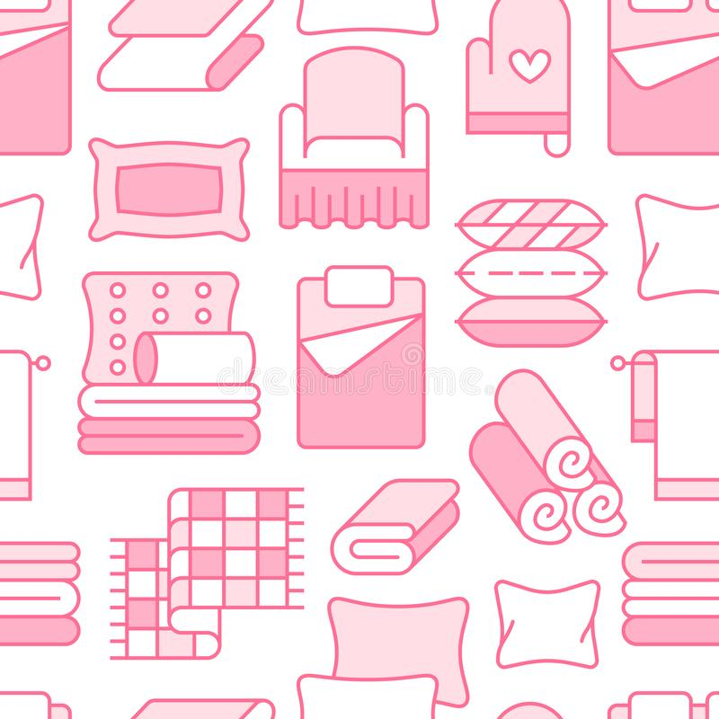 Home textiles seamless pattern with flat line icons. Bedding, bedroom linen, pillows, sheets set, blanket and duvet thin stock illustration