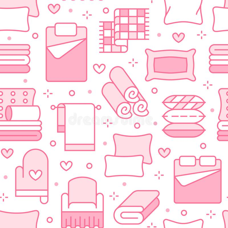 Home textiles seamless pattern with flat line icons. Bedding, bedroom linen, pillows, sheets set, blanket and duvet thin. Linear illustrations. Pink white vector illustration