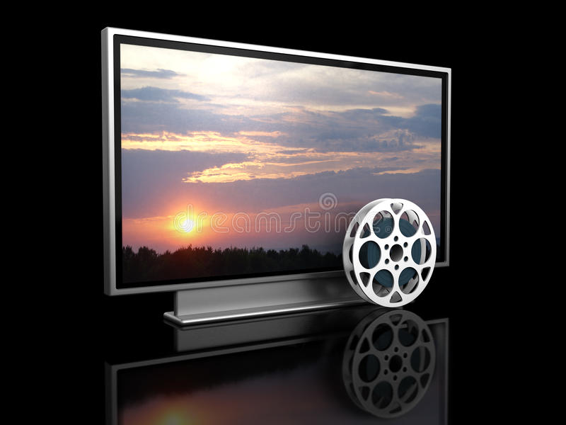 Home theater. 3d illustration of plasma tv and film reel, over black background royalty free illustration