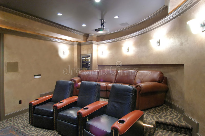 Home Theater. Modern living, luxury house interior, home theater