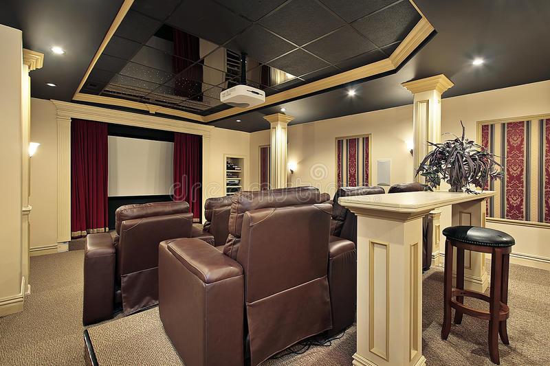 Download Home theater with colums stock image. Image of couch - 12408259