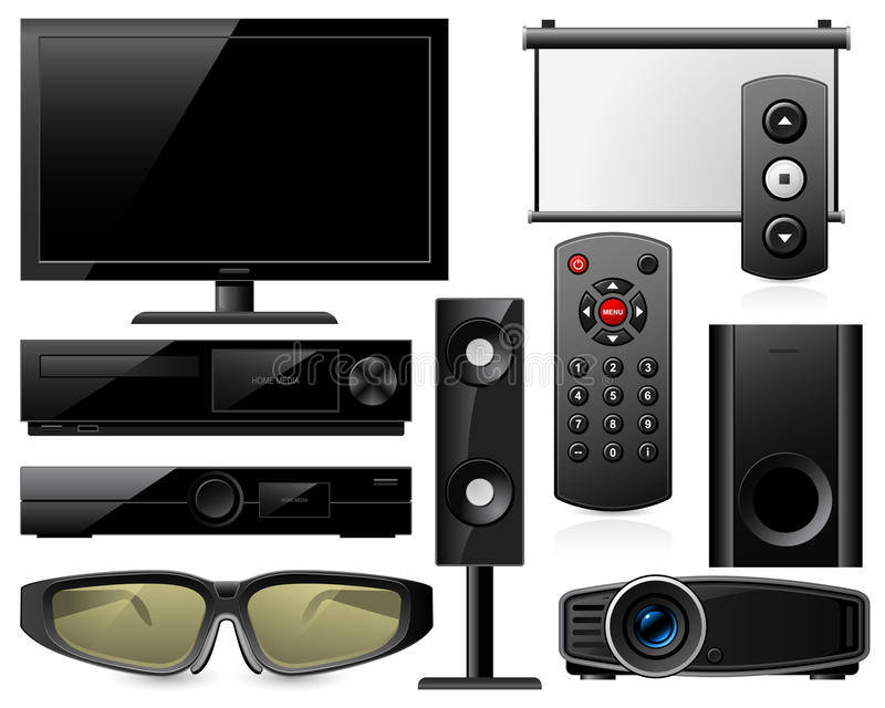 Download Home theater equipment stock vector. Illustration of control - 23841531