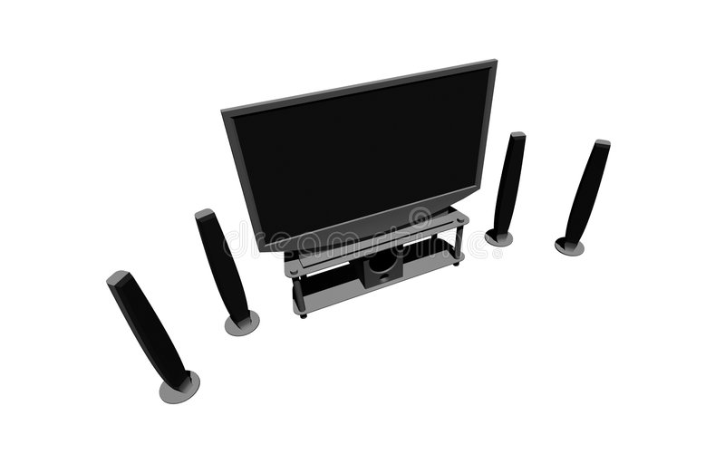 Home theater / high definition television. With speakers - isolated 3d render stock image
