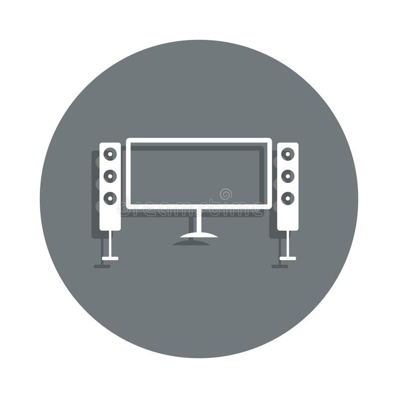 home theater icon in badge style. One of Cinema collection icon can be used for UI, UX stock illustration