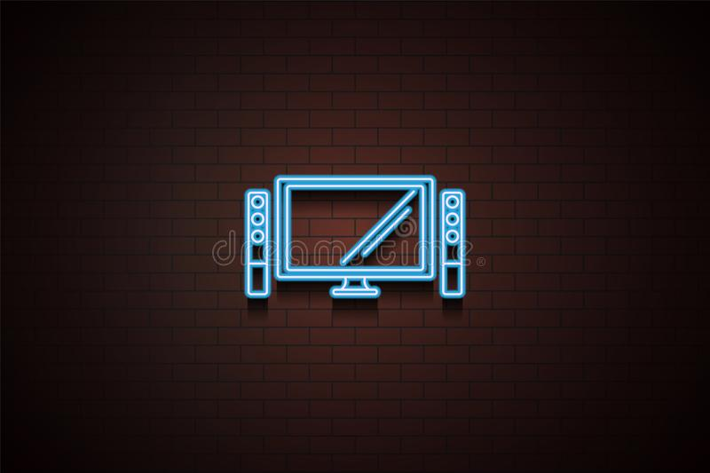 home theater icon in neon style. One of Appliances collection icon can be used for UI/UX vector illustration