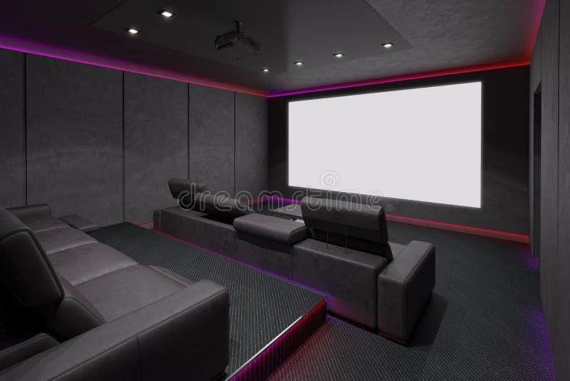 Home Theater Interior. 3d illustration. royalty free illustration