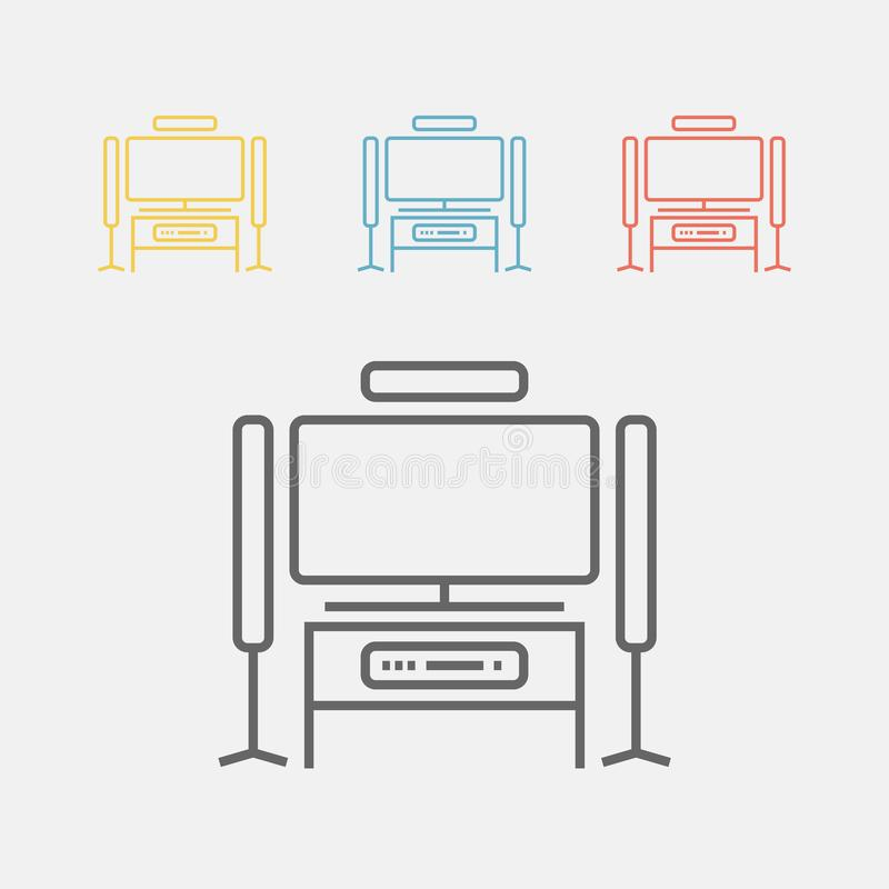Home theater line icon stock illustration