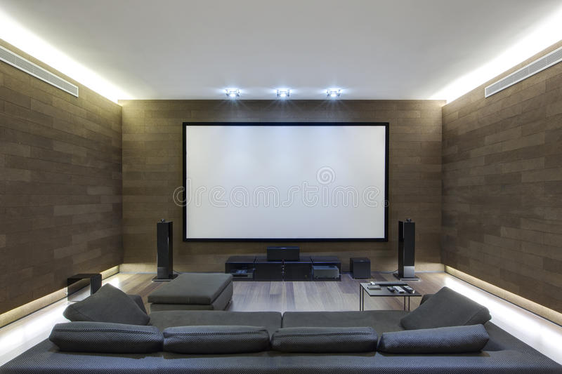 In-Home Theater in Luxury Home stock image