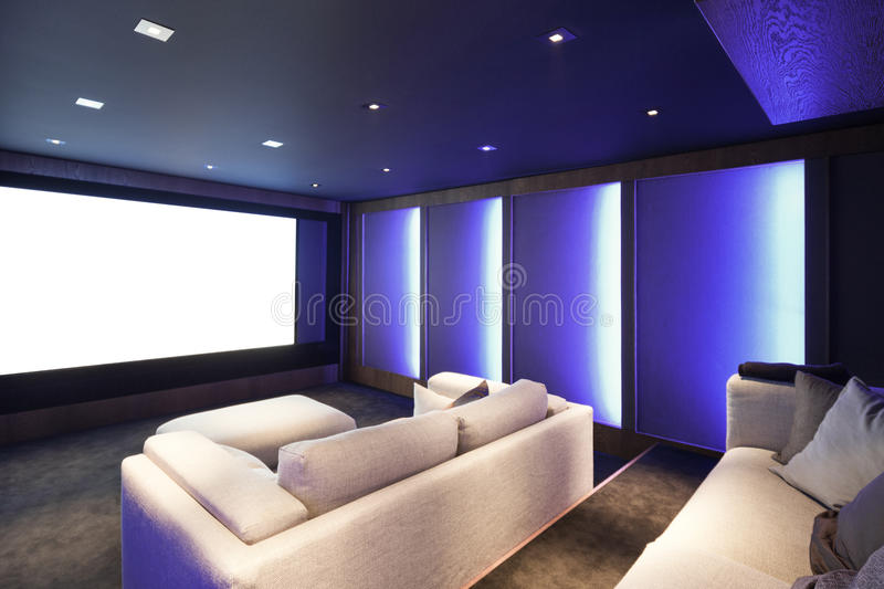 Home theater, luxury interior stock photos