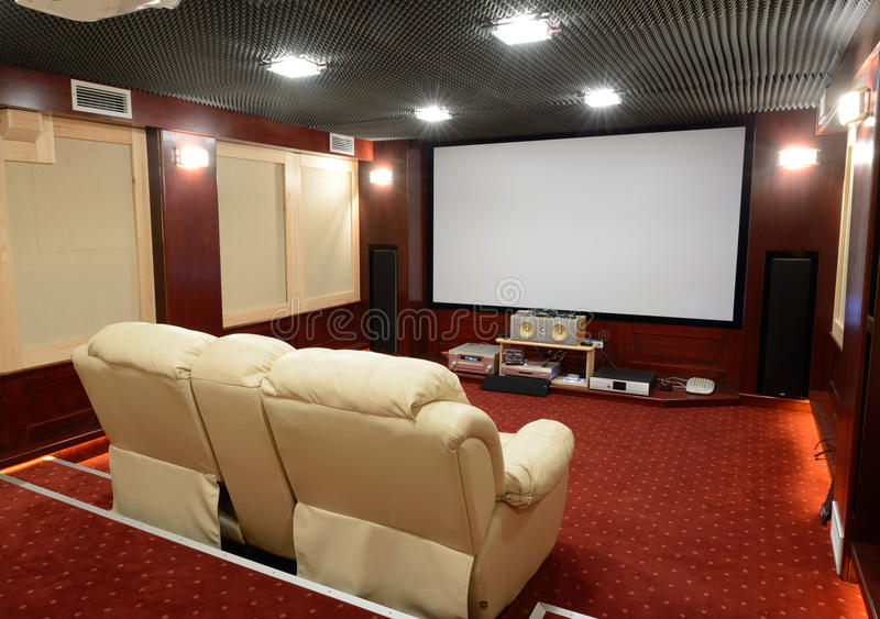 Home theater. Soundproof home theater in home cellar stock images