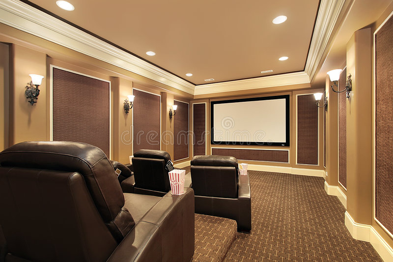 Home theater in upscale house stock photos