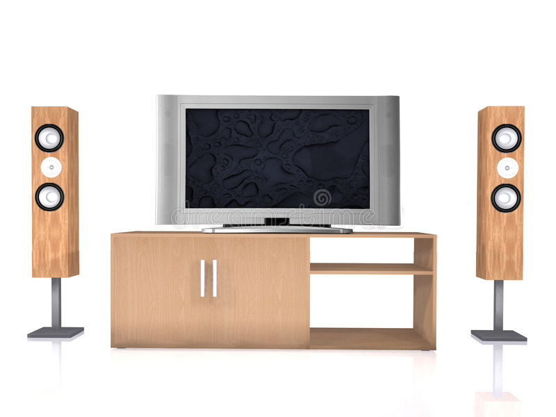 Home theatre system on white