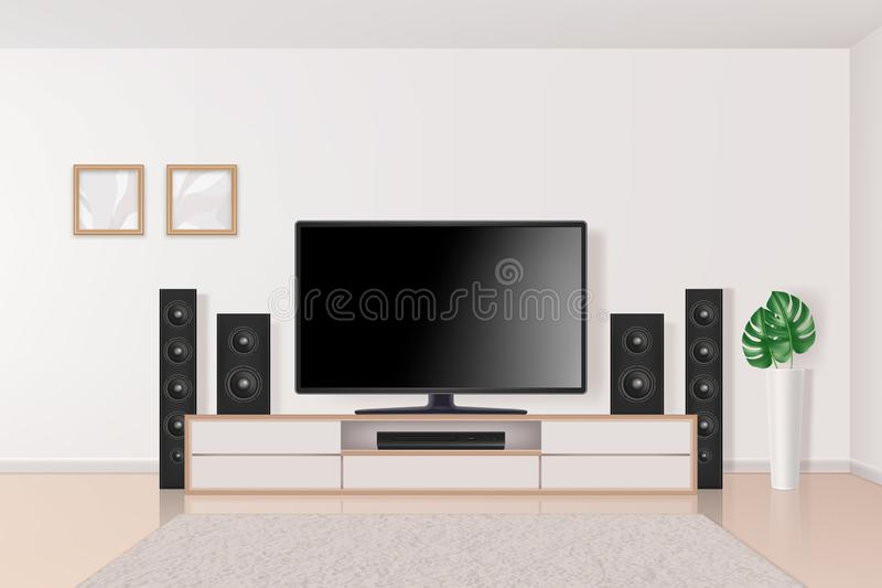 Home theatre. Tv set system in interior big modern multimedia system home theatre in living room vector realistic vector illustration