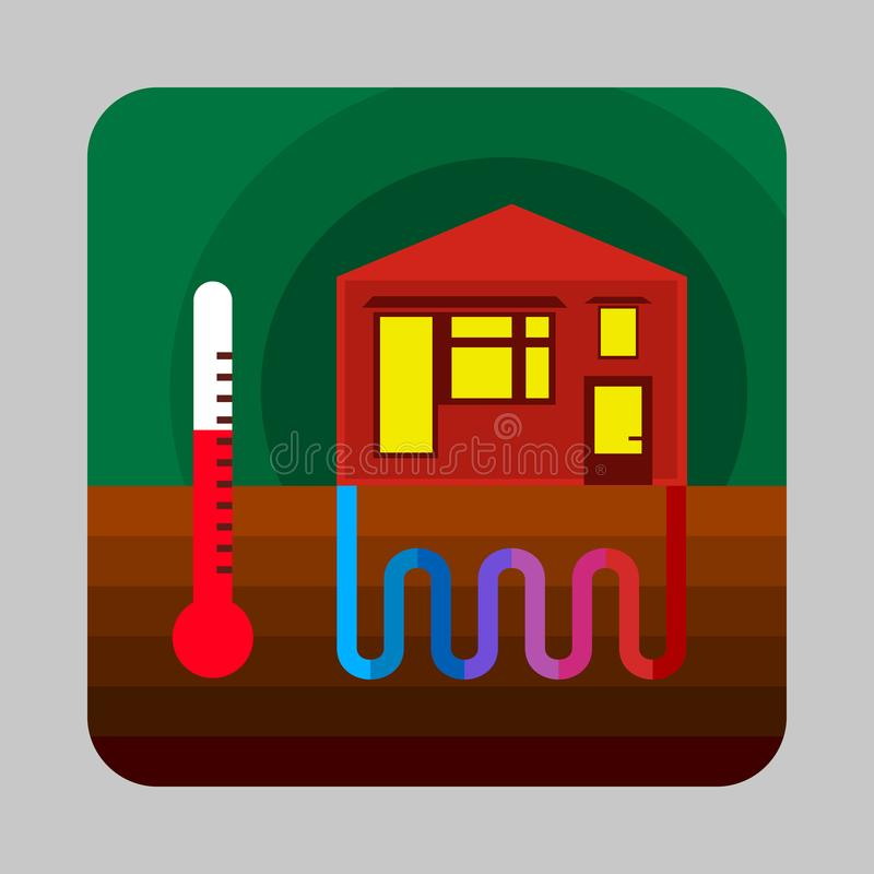 Home thermal energy concept background, cartoon style vector illustration