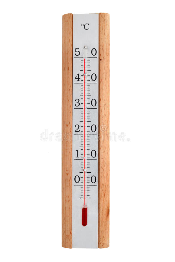 Home thermometer on a white background shows 50 degrees stock photo