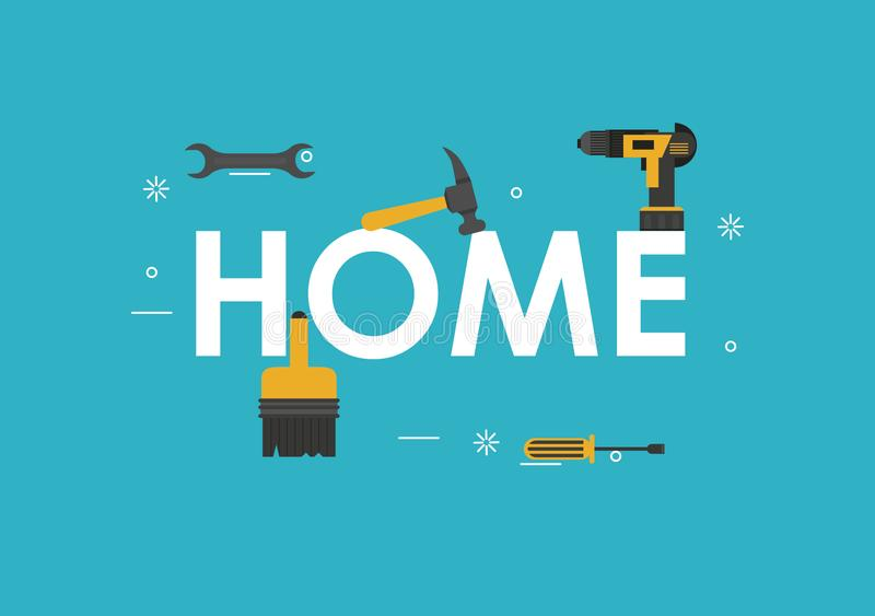 Home tools banner royalty free illustration