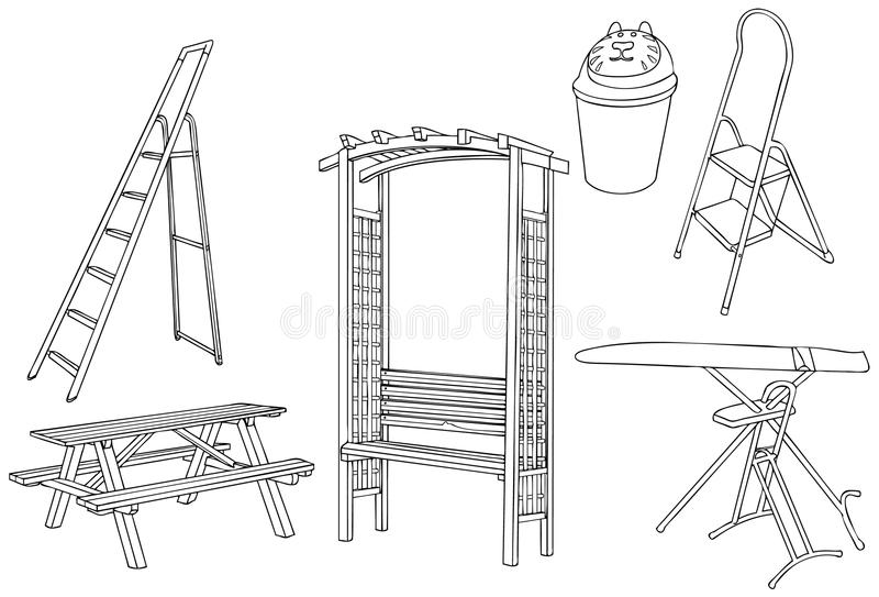 Home Tools Outline Vector Illustration stock illustration