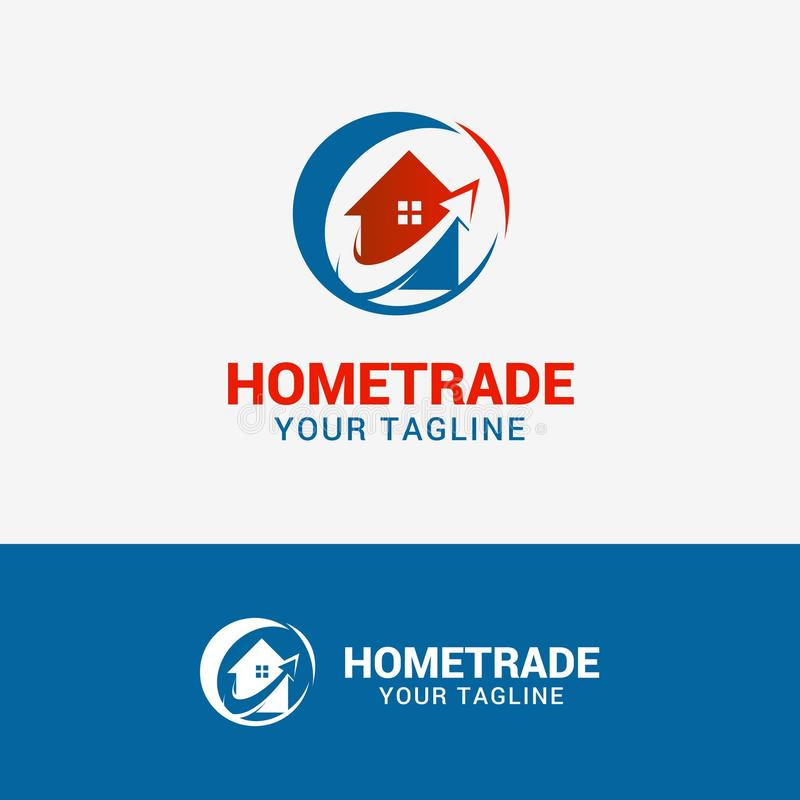 HOME TRADE logo. Template element symbol in red blue color stock illustration
