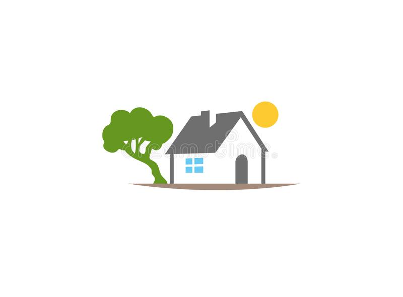 Home beside tree and sun up House Logo. Design illustration vector illustration