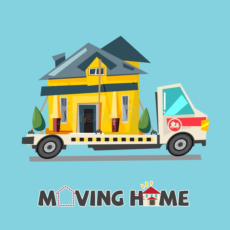 Home on truck. moving home concept. relocating house. typographic design for header - vector stock illustration