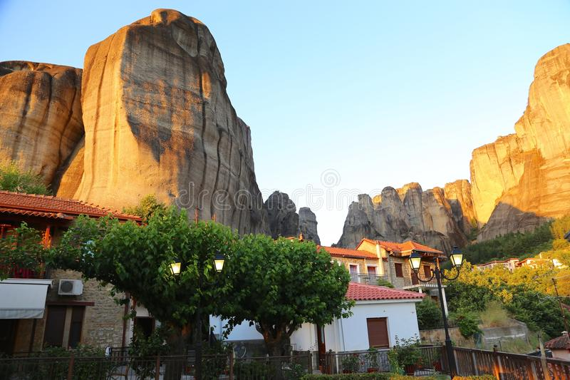 Home under mountains. In Greece royalty free stock photo
