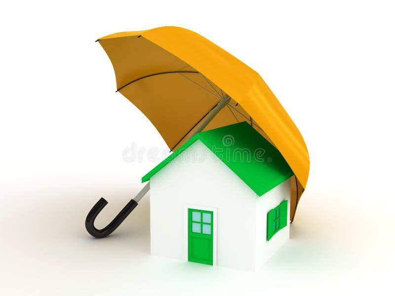 Home under umbrella. 3d render stock illustration