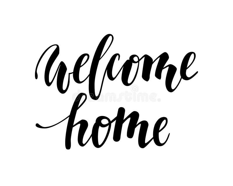 home välkomnande Hand dragen kalligrafi och borstepennbokstäver vektor illustrationer