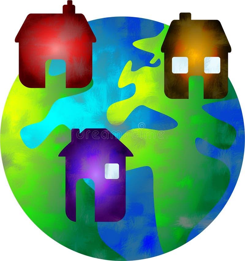 home värld royaltyfri illustrationer