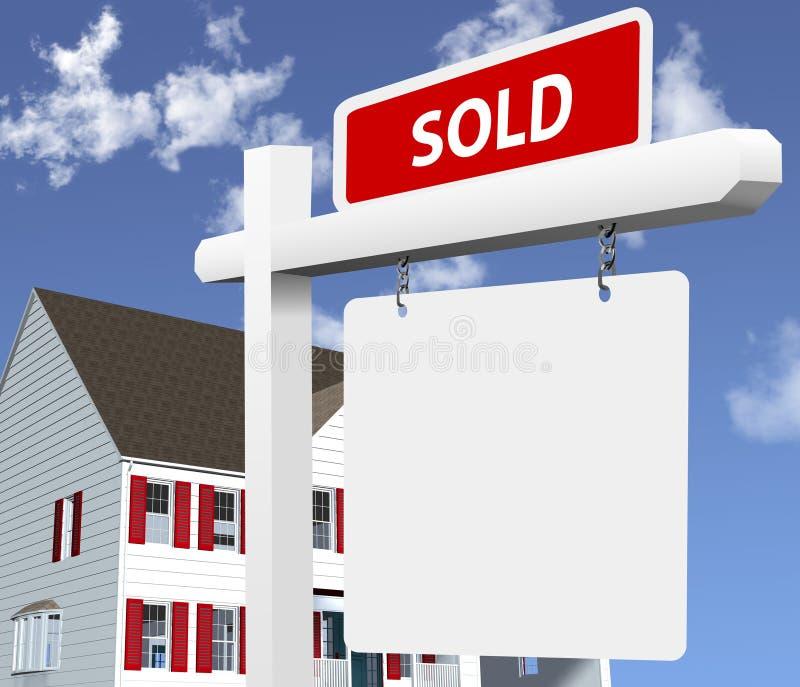 A HOME VENDEU o sinal dos bens imobiliários ilustração do vetor