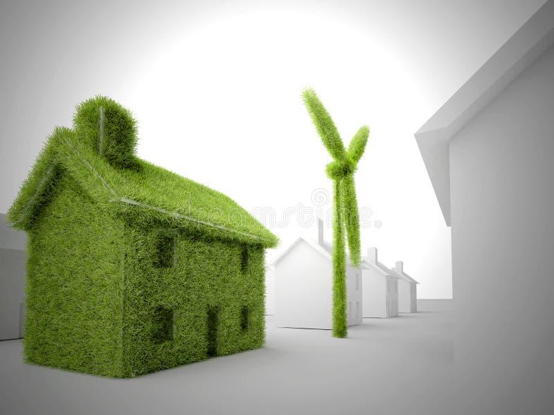 HOME verde do eco ilustração do vetor