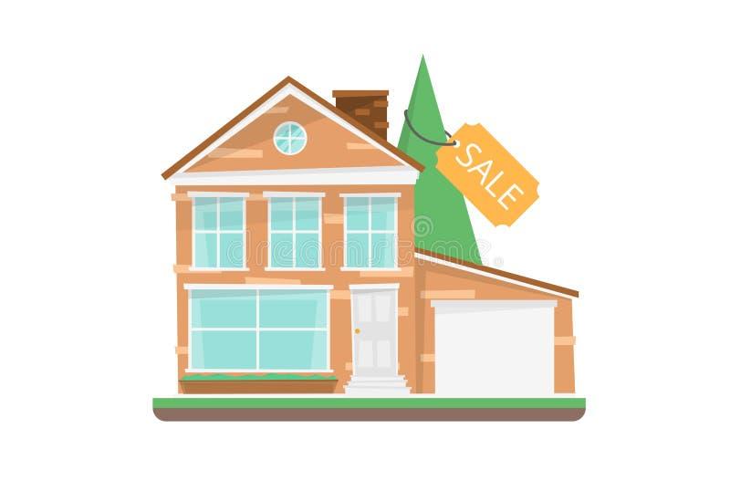 home verkligt försäljningstecken för gods royaltyfri illustrationer
