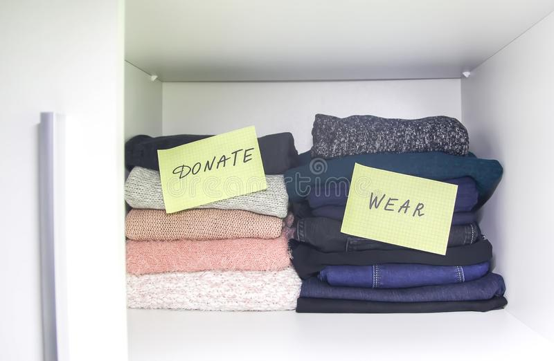 Home wardrobe with different clothes royalty free stock photo