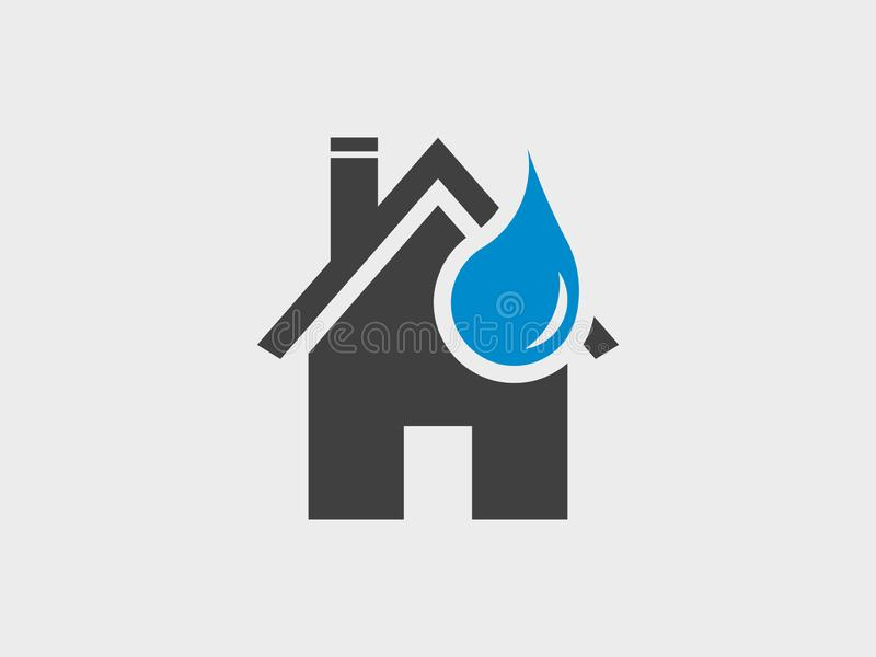 Home and water droplet, vector icon. Home and water droplet, plumber maintenance business, vector icon stock illustration
